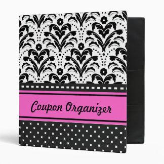 Coupon Organizer Hot Pink Art Deco Damask 3 Ring Binder
