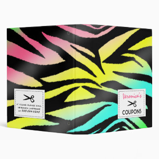 Coupon Organizer - Neon Zebra Print Vinyl Binder