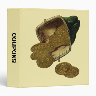 Coupon Organizer, Vintage Finance Money Gold Coins Binder