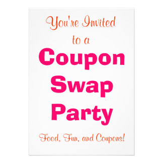 Coupon Swap Invitation - Tangerine and Pink