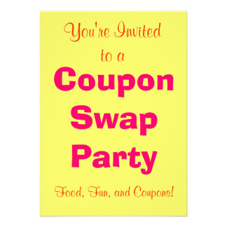 Coupon Swap Invitation - Yellow Tangerine and Pink