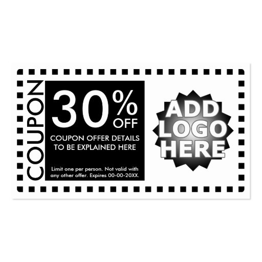 coupon template double sided standard business cards pack of 100 zazzle. Black Bedroom Furniture Sets. Home Design Ideas