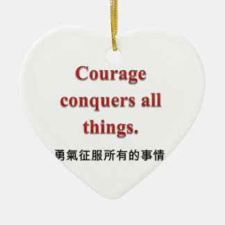 Courage Apparel and Gift Items Double-Sided Heart Ceramic Christmas Ornament
