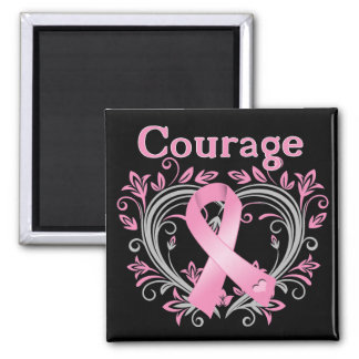 Courage Breast Cancer Awareness Ribbon 2 Inch Square Magnet