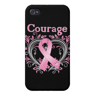 Courage Breast Cancer Awareness Ribbon Case For iPhone 4