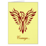 Courage - Crimson Phoenix Rising blank notelet Greeting Cards