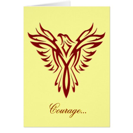 Courage - Crimson Phoenix Rising blank notelet