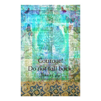 Courage Do not fall back JOAN OF ARC quote Stationery