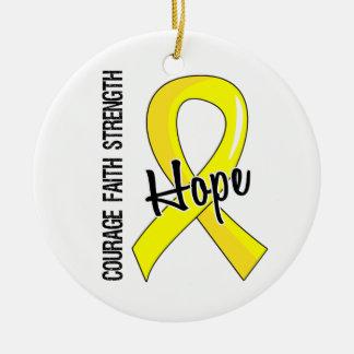 Courage Faith Hope 5 Bladder Cancer Christmas Tree Ornament