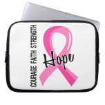 Courage Faith Hope 5 Breast Cancer Laptop Sleeves