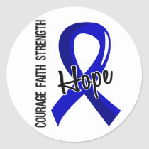 Courage Faith Hope 5 Colon Cancer Classic Round Sticker