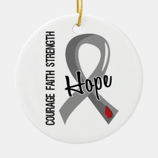 Courage Faith Hope 5 Juvenile Diabetes Double-Sided Ceramic Round Christmas Ornament