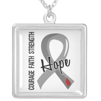 Courage Faith Hope 5 Juvenile Diabetes Silver Plated Necklace