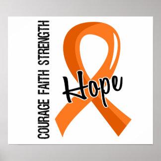 Courage Faith Hope 5 Leukemia Poster