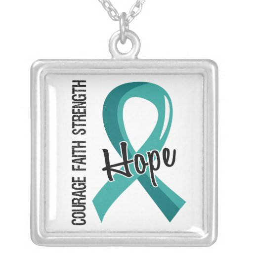 Courage Faith Hope 5 PCOS Square Pendant Necklace