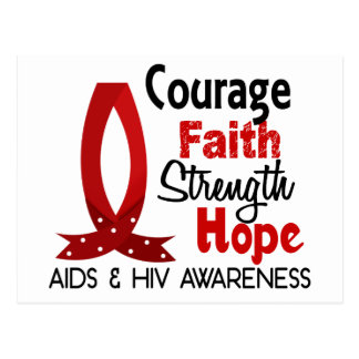 Courage, Faith, Strength, Hope AIDS Postcard