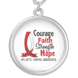 Courage Faith Strength Hope Aplastic Anemia Round Pendant Necklace