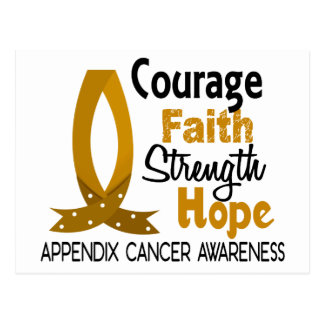 Courage Faith Strength Hope Appendix Cancer Postcard