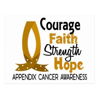 Courage Faith Strength Hope Appendix Cancer Postcard