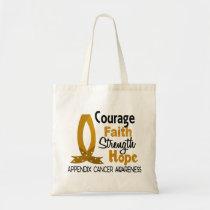 Courage Faith Strength Hope Appendix Cancer Tote Bag