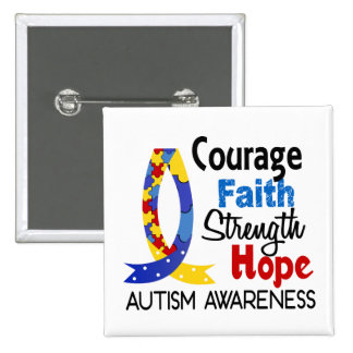 Courage Faith Strength Hope Autism 2 Inch Square Button