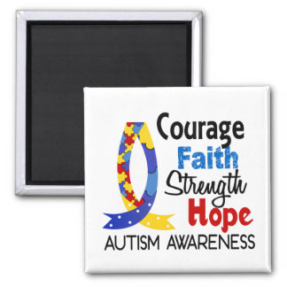 Courage Faith Strength Hope Autism 2 Inch Square Magnet