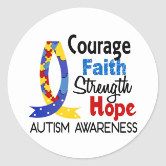 Courage Faith Strength Hope Autism Classic Round Sticker