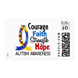 Courage Faith Strength Hope Autism Postage