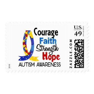 Courage Faith Strength Hope Autism Postage Stamps