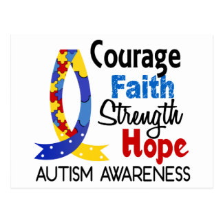 Courage Faith Strength Hope Autism Postcard