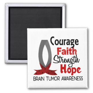 Courage Faith Strength Hope Brain Tumor 2 Inch Square Magnet
