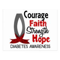 Courage Faith Strength Hope Diabetes Postcard