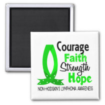 Courage Faith Strength Hope Non-Hodgkin's Lymphoma 2 Inch Square Magnet