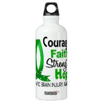 Courage Faith Strength Hope Traumatic Brain Injury Aluminum Water Bottle