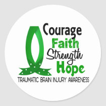 Courage Faith Strength Hope Traumatic Brain Injury Classic Round Sticker