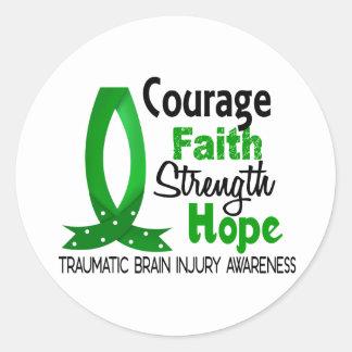 Courage Faith Strength Hope Traumatic Brain Injury Classic Round Sticker