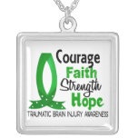 Courage Faith Strength Hope Traumatic Brain Injury Square Pendant Necklace
