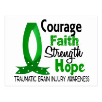 Courage Faith Strength Hope Traumatic Brain Injury Postcard