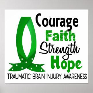 Courage Faith Strength Hope Traumatic Brain Injury Posters
