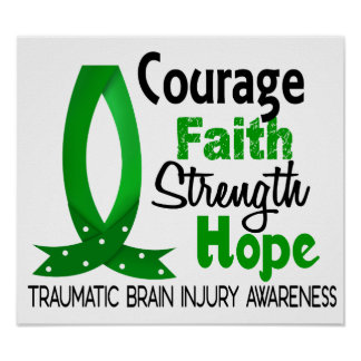 Courage Faith Strength Hope Traumatic Brain Injury Poster