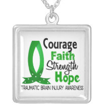 Courage Faith Strength Hope Traumatic Brain Injury Silver Plated Necklace