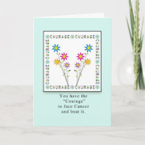 Courage Flowers in Square-Cancer Card
