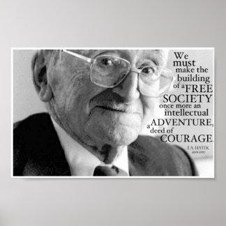 """""""Courage"""", Friedrich A. Hayek Poster"""