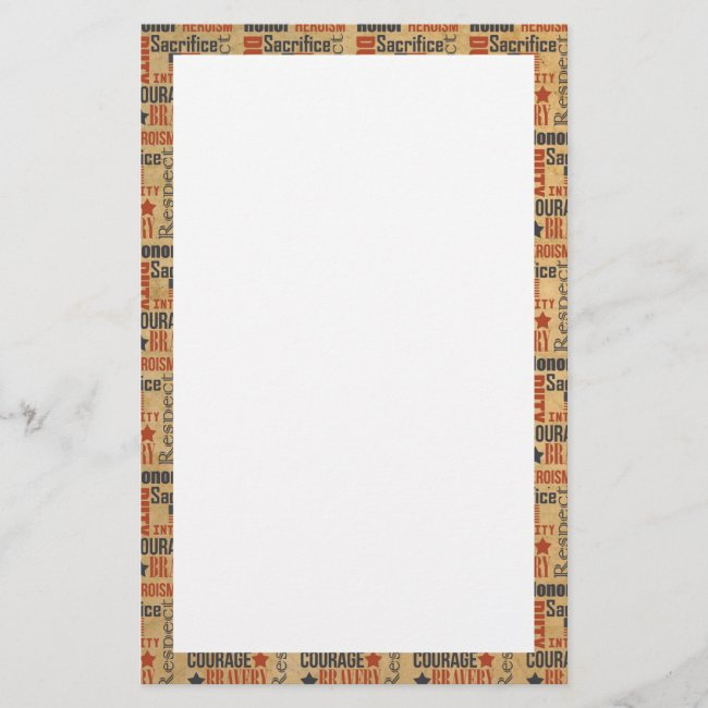 Courage, Honor, Duty Army Boot Camp Soldier Stationery