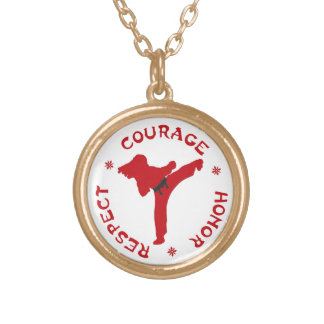 Courage Honor Respect Gold Necklace ladies