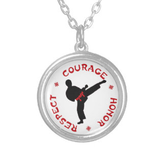 Courage Honor Respect Silver Mens Necklace