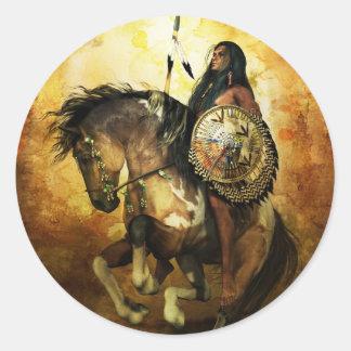 Courage Native American Warrior Classic Round Sticker
