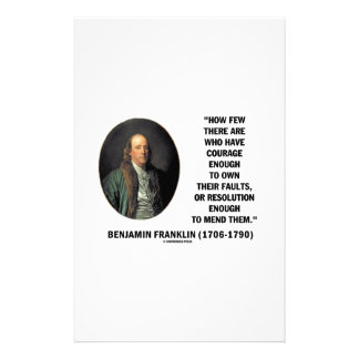 Courage Own Their Faults Resolution Franklin Quote Stationery