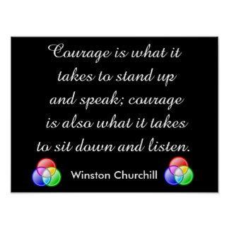 Courage quote - Winston Churchill Poster