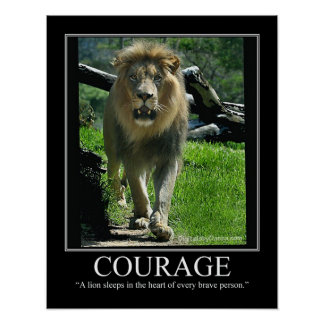 COURAGE Small Poster - Lion Motivational